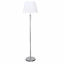 Lámpara de pie cromada con pantalla